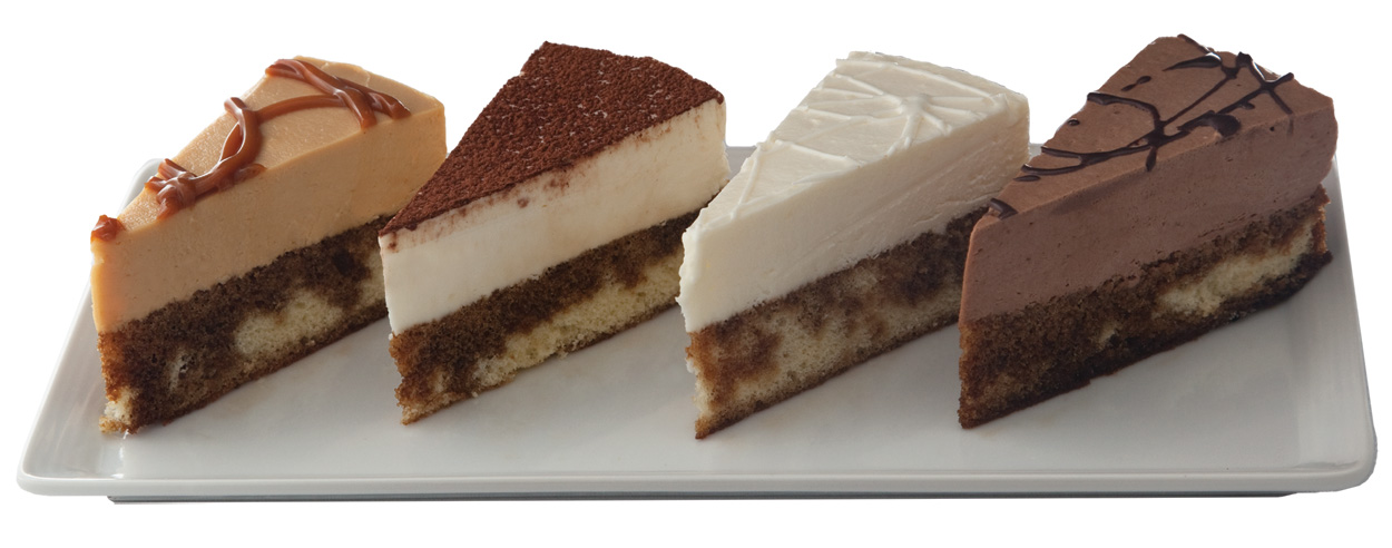 "Tiramisu Sampler 7"" (3 slices each of 4 flavors: Original/Choc/White Choc/Caramel)"
